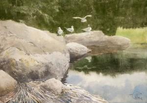 """On the coastal rocks- II"" watercolor on paper, 35 x 50, 2012"