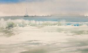"""""""Foam"""" watercolor on paper, 34 x 56, 2012"""