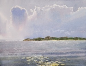 """Cloudburst over the bay"" watercolor on paper, 50 x 64, 2012"