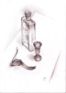 """Checking the clock"" sepia drawing, 40 x 30, 1991"