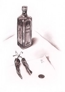 """Hot pepper"" sepia drawing, 40 x 30, 1991"