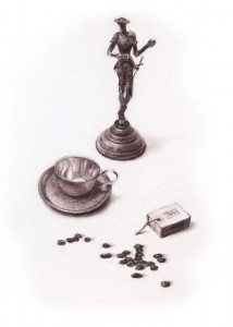 """Coffe beans"" sepia drawing, 40 x 30, 1991"