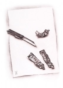 """Knife & colors"" sepia drawing, 40 x 30, 1991"