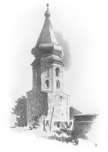 """Vyborg Town hall tower"" pencil drawing, 31 x 43, 1991"