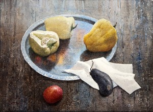 """Prelunch still life"" watercolor on paper, 41 x 56, 2012"