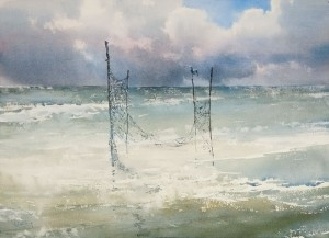 """The tangled fishing net II"" watercolor on paper, 41 x 56, 2012"