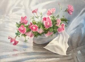 """Petunias"" watercolor on paper, 41 x 56, 2012"