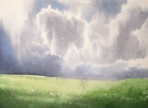 """Clouds over meadow"" watercolor on paper, 41 x 56, 2012"