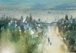 """Evening street in direction of the sea"" watercolor on paper, 35 x 50, 2012"