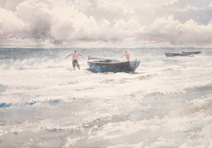 """The sun, the wind, the boat"" watercolor on paper, 35 x 50, 2012"