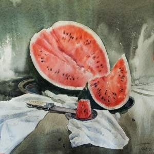 """Another small piece"" watercolor on paper, 50 x 50, 2012"