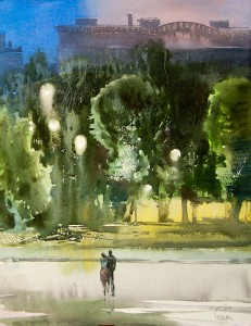 """Full moon of street lamps"" watercolor on paper, 50 x 38, 2012"