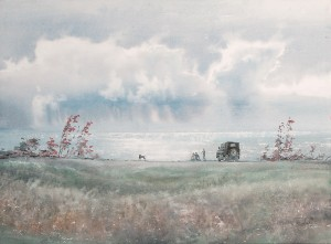 """In the September afternoon above the sea"" watercolor on paper, 56 x 76, 2012"