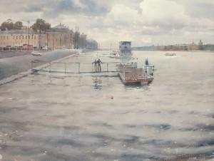 """Watching the Neva river flow"" watercolor on paper, 56 x 76, 2012"