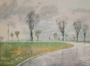 """The road in the beginning of October"" watercolor on paper, 56 x 76, 2012"