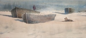 """Observation of the sea in clear weather"" watercolor on paper, 33 x 76, 2012"