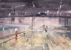"""Electric doping of city"" #3 watercolor on paper, 50 x 70, 2012"