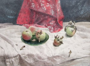 """The apples on the white tablecloth"" watercolor on paper, 56 x 76, 2012"
