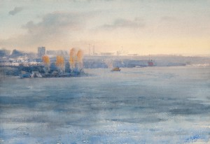 """Bay, Autumn Morning"" watercolor on paper, 38 x 56, 2012"