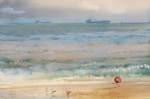 """""""Along the channel"""" watercolor on paper, 38 x 58, 2012"""
