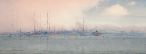 """At the berth"" watercolor on paper, 21 x 58, 2012"