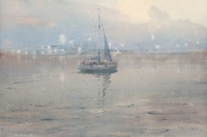 """""""Lights"""" watercolor on paper, 38 x 58, 2012"""