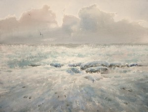 """Waves, clouds and stones"" watercolor on paper, 46 x 61, 2012"