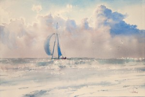"""Along the shore, when the sun goes down"" watercolor on paper, 38 x 56, 2012"