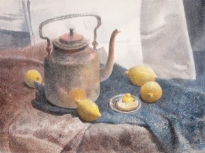 """Four lemon and copper"" watercolor on paper, 56 x 76, 2012"