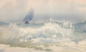 """Wave"" watercolor on paper, 35 x 56, 2012"