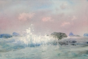 """Wave at a stony shore"" watercolor on paper, 38 x 56, 2012"