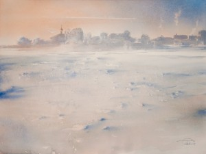 """Above the edge of the snow plain"" watercolor on paper, 56 x 75, 2012"