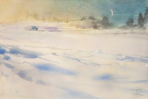 """The new moon above the winter roadway"" watercolor on paper, 38 x 56, 2012"