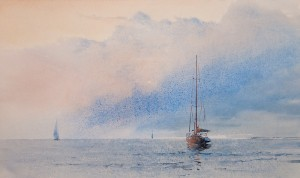 """Day begins"" watercolor on paper, 42 x 70, 2012"