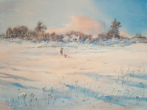 """Winter day"" watercolor on paper, 56 x 76, 2013"