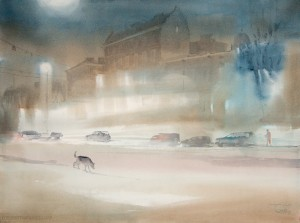 """While the city sleeps"" watercolor on paper, 56 x 76, 2013"