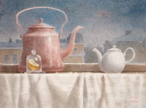 """Boiling water, tea and lemon"" watercolor on paper, 56 x 76, 2013"