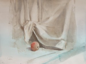 """Apple with red streaks"" watercolor on paper, 56 x 76, 2013"