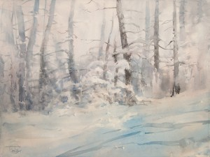 """Trees in the snow-haze"" watercolor on paper, 56 x 76, 2013"