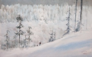 """Snow-covered hills"" watercolor on paper, 44 x 70, 2013"