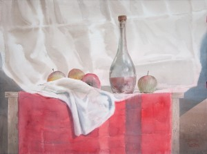 """Apples and red vine"" watercolor on paper, 56 x 76, 2013"