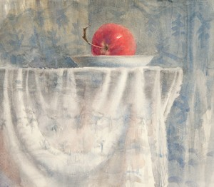 """Red morning apple"" watercolor on paper, 35 x 40, 2013"