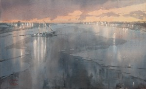 """The February morning on Neva river"" watercolor on paper, 34 x 56, 2013"