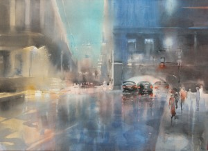 """""""Crossing"""" watercolor on paper, 41 x 56, 2013"""