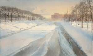 """""""The ice and shadows of the Mikhailovsky garden"""" watercolor on paper, 34 x 56, 2013"""