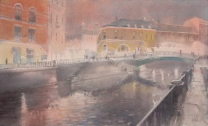 """""""The Catherine canal in the late evening"""" watercolor on paper, 34 x 56, 2013"""