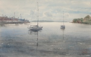 """South harbour, Tar Cape"" watercolor on paper, 35 x 56, 2013"