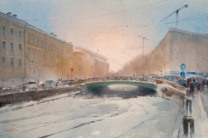 """Moyka River, Pevchesky Bridge"" watercolor on paper, 38 x 56, 2013"