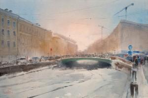 """""""Moyka River, Pevchesky Bridge"""" watercolor on paper, 38 x 56, 2013"""