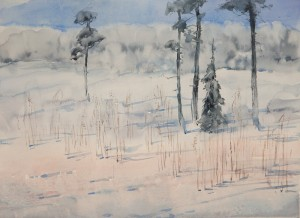 """Frosty March Morning"" watercolor on paper, 32 x 44, 2013"